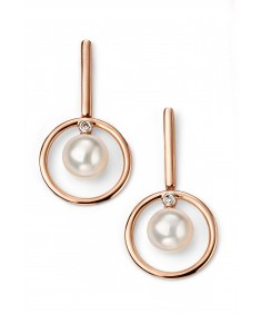 9ct Rose Gold Diamond and Pearl Earrings