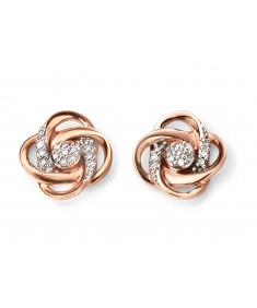9ct Rose Gold Diamond Swirl Earrings