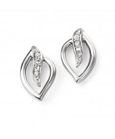 9ct White Gold Diamond Leaf stud Earring