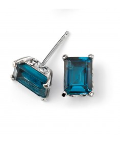 9ct White Gold London Blue Topaz Stud Earring with Gallery Detail