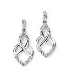 9ct White Gold Open Pattern Earring