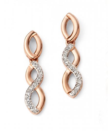 9ct Rose Gold Pave Entwined Earrings