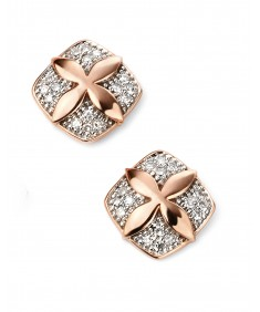9ct Rose Gold Diamond Flower Stud Earrings
