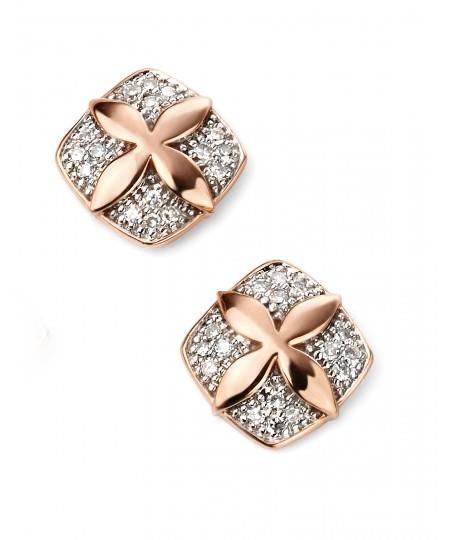 9ct Rose Gold Diamond Flower Stud Earrings