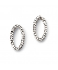 9ct White Gold Tall Oval Pave Diamond stud Earrings
