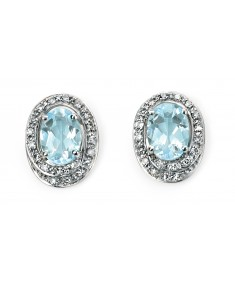 9ct White Gold diamond rounds and oval aquamarine earrings