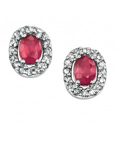 9ct White Gold oval ruby earrings with pave diamonds