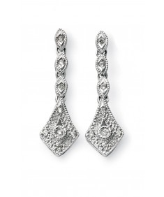 9ct White Gold vintage drop earrings with diamonds