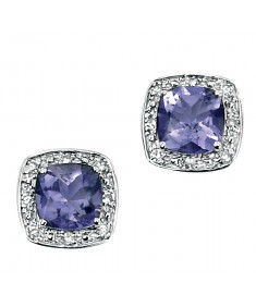 9ct White Gold earring with cushion cut iolite with pave diamond surround