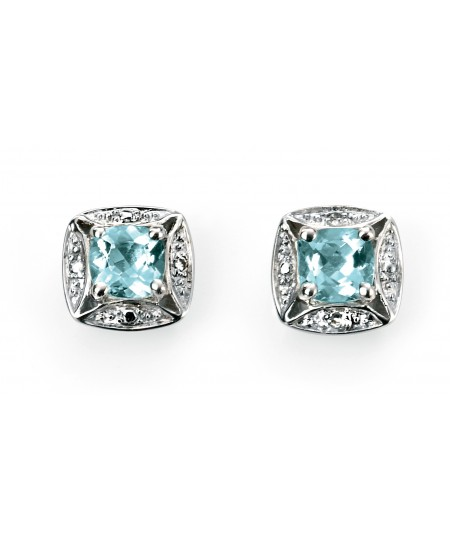 9ct White Gold aquamarine earring