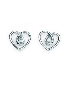 9ct White gold diamond spiral heart stud Earrings