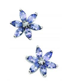 9ct White Gold Tanzanite and Diamond flower Stud Earrings