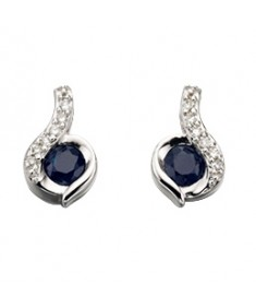 9ct White Gold swirl blue sapphire and diamond earrings