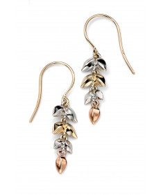 yellow/white/rose gold leaf earring