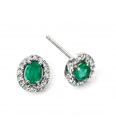 9ct White Gold emerald and diamond earrings