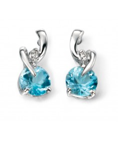 9ct White Gold blue Topaz and diamond Earring