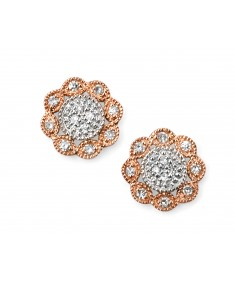 9ct Rose and White Gold Pave Diamond Flower Stud Earrings