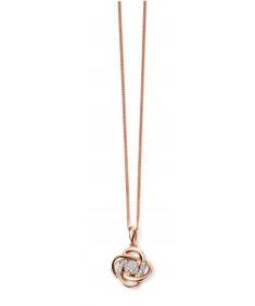 9ct Rose Gold Diamond Swirl Pendant