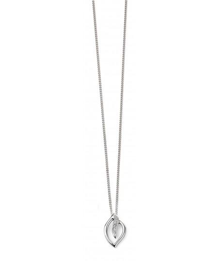9ct White Gold Diamond Leaf Pendant