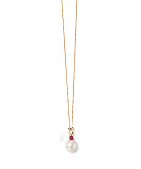 9ct Yellow Gold Ruby and Pearl Pendant