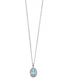 9ct White Gold diamond halo pendant with aquamarine centre stone