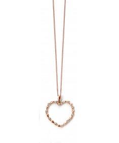 9ct rose gold diamond large open heart bead pendant