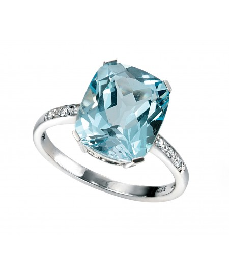 9ct White gold Sky Blue Topaz and Diamond Ring
