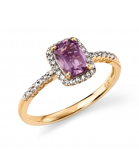 9ct Yellow Gold and Amethyst Cushion Ring