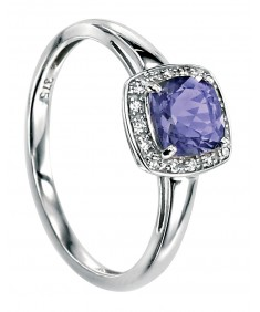 9ct White Gold ring with cushion cut iolite with pave diamond surround