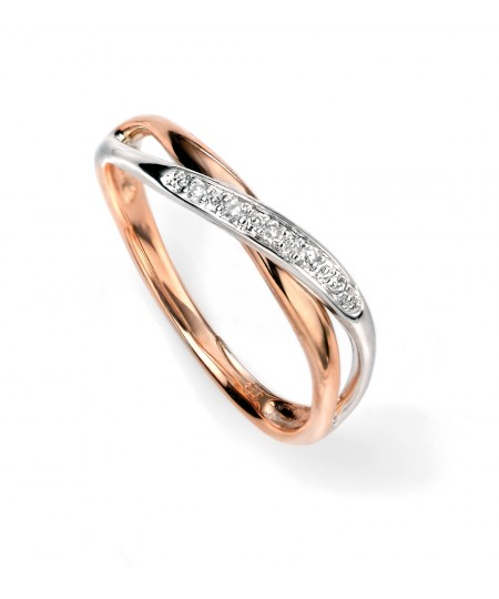 9ct white and rose gold diamond twist ring