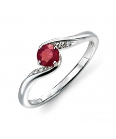 9ct White Gold ruby and diamond swirl ring