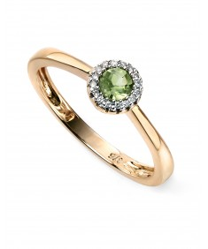 9ct Yellow gold diamond and peridot cluster ring