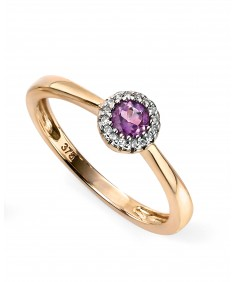 9ct Yellow gold diamond and amethyst cluster ring