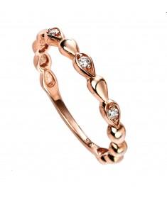 9ct rose gold diamond bead ring