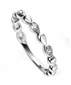 9ct white gold diamond bead ring