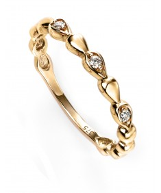 9ct yellow gold diamond bead ring