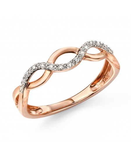 9ct Rose Gold Pave Entwined Ring
