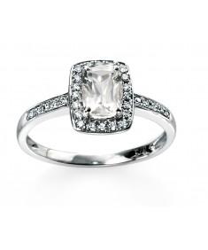 9ct white gold Diamond and white topaz Ring
