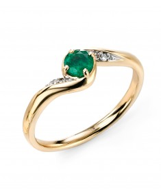 9ct Yellow Gold Simple Diamond and Emerald Ring