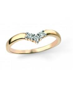 9ct yellow gold and Diamond Wishbone Ring