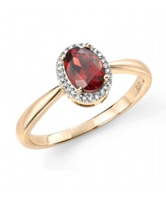 9ct Yellow Gold and Diamond Garnet Cluster Ring