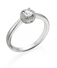 9ct White Gold Ring with White Topaz Centre and Diamond edge