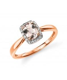 9ct Rose Gold Diamond and Morganite Ring