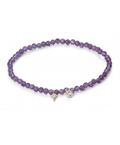 Amethyst and Clear CZ Bead Bracelet