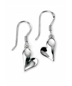 Silver Polished Heart Earring