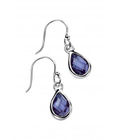 Amethyst CZ Faceted Teardrop Earring