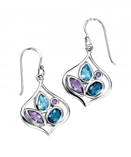 London Blue Topaz & Amethyst Open Earring