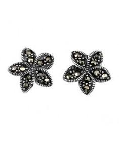 Marcasite Plumeria Stud Earrings