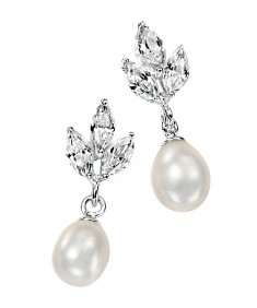 White Freshwater Pearl & Clear CZ Marquise Earring