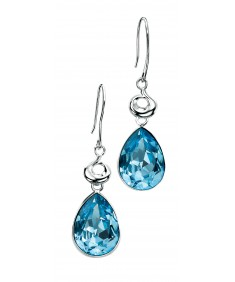 Aquamarine coloured Swarovski Crystal Teardrop Earrings